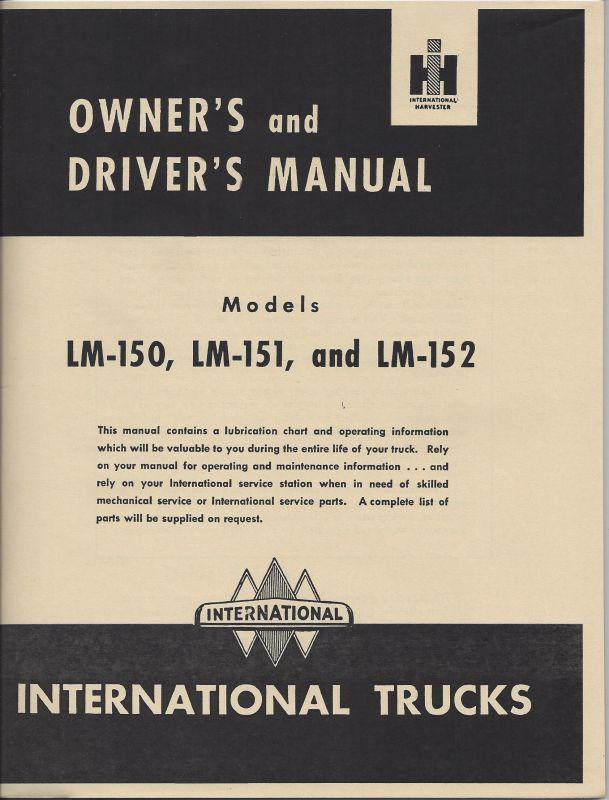 International LM-150-152 Metro Series Truck Operator's Manual
