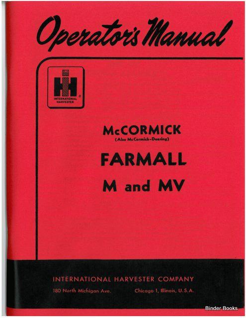 binder books farmall m and mv tractor operators manual rh binderbooks com farmall m operators manual pdf Farmall M Brake Diagram