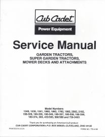 binder books 990 1992 cub cadet garden tractor service manual for rh binderbooks com cub cadet 1440 user manual cub cadet 1040 service manual