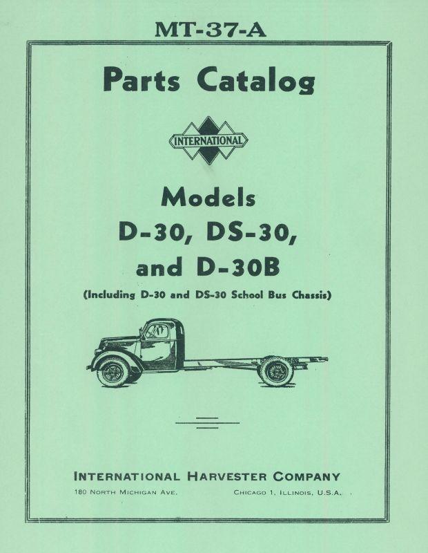 International Models D-30, DS-30 & D-30B Truck Parts Catalog